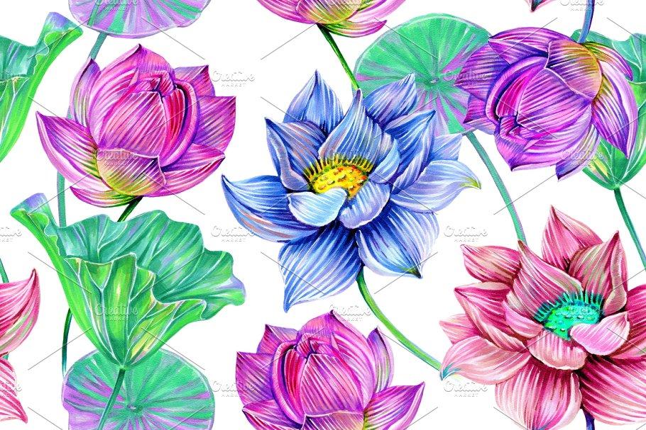 Pink lotus,leaves pattern