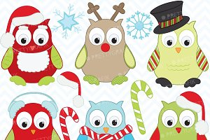 Christmas owls clipart, commercial