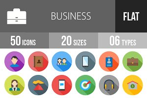 50 Business Flat Shadowed Icons