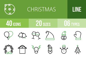 40 Christmas Green & Black Icons