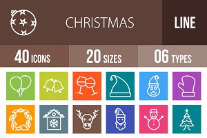 40 Christmas Line Multicolor Icons