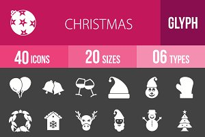 40 Christmas Glyph Inverted Icons