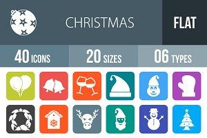40 Christmas Flat Round Corner Icons