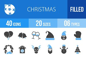 40 Christmas Blue & Black Icons