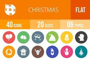 40 Christmas Flat Round Icons