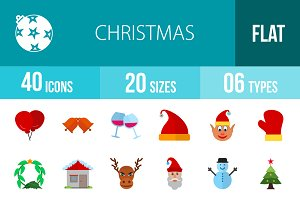 40 Christmas Flat Multicolor Icons