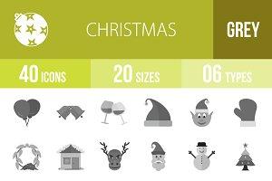 40 Christmas Greyscale Icons