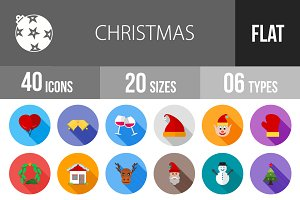 40 Christmas Flat Shadowed Icons