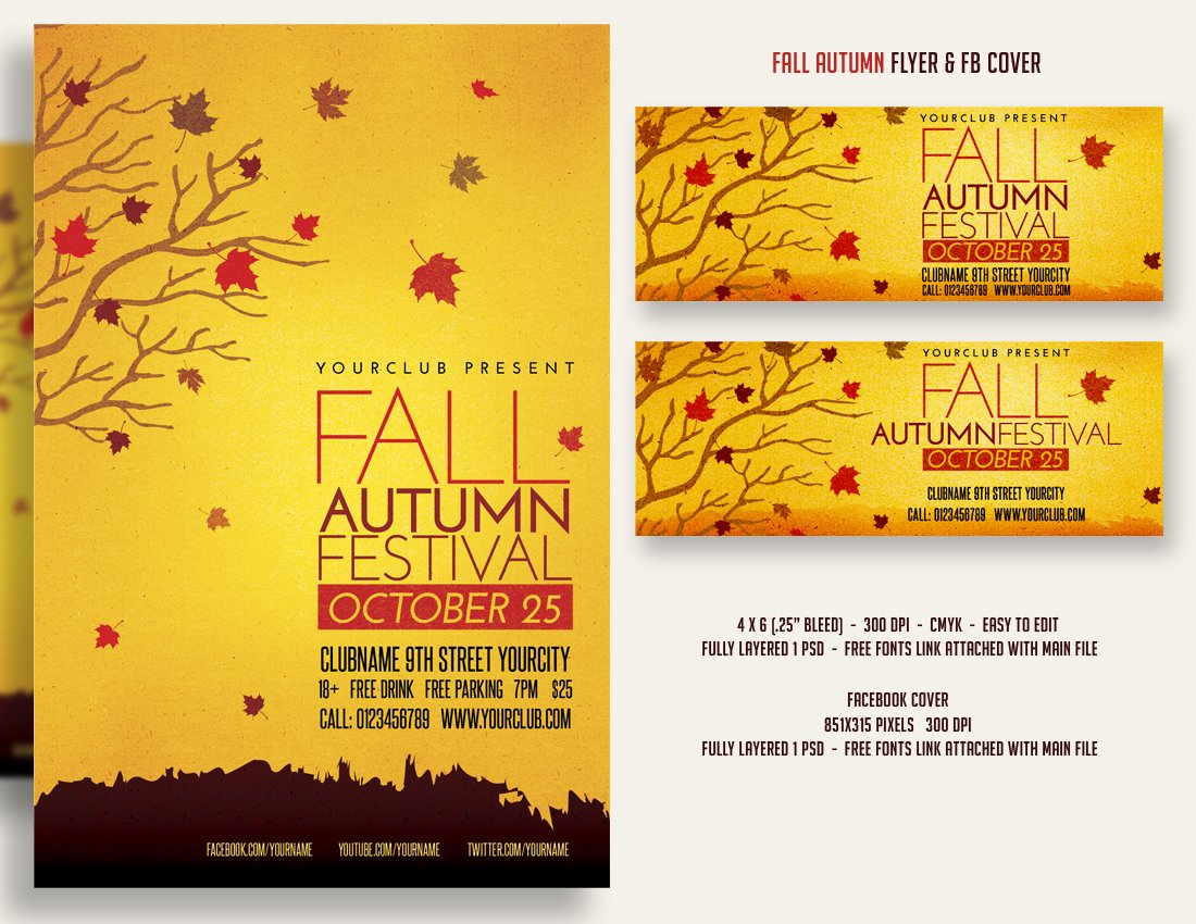 fall autumn festival flyer fbcover flyer templates creative market