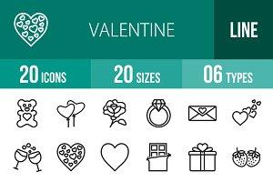 20 Valentine Line Icons