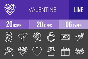 20 Valentine Line Inverted Icons