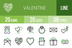 20 Valentine Green & Black Icons