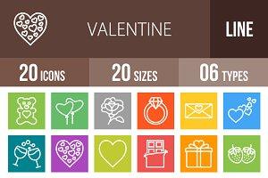 20 Valentine Line Multicolor Icons