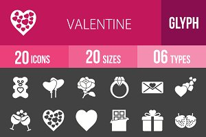 20 Valentine Glyph Inverted Icons