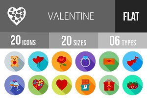 20 Valentine Flat Shadowed Icons