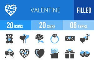 20 Valentine Blue & Black Icons