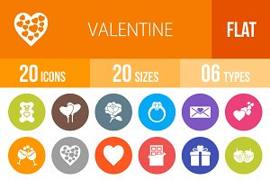20 Valentine Flat Round Icons