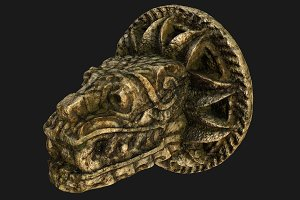 Mayan Aztec Dragon Lion Head Statue