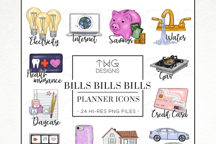 To Do Planner Icons Bills