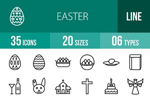 35 Easter Line Icons