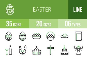35 Easter Line Green & Black Icons