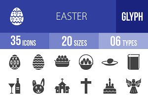 35 Easter Glyph Icons