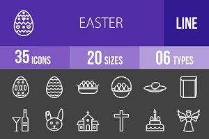 35 Easter Line Inverted Icons