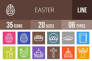 35 Easter Line Multicolor Icons