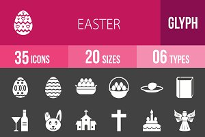 35 Easter Glyph Inverted Icons