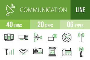 40 Communication Green&Black Icons