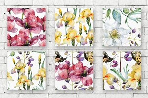 Floral watercolor seamless patterns