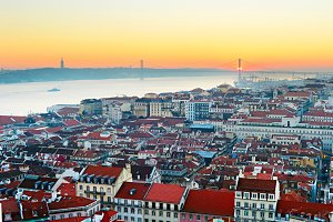 Lisbon skyline at sunset.Portugal