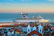 Cruise liner in Lisbon harbor