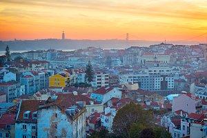 Lisbon at beautiful sunset.Portugal