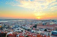 Beautiful Lisboa cityscape at sunset