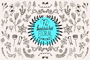72 HANDSKETCHED FLORAL ELEMENTS
