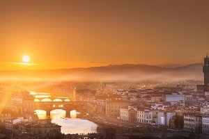 Arno River at sunset Florence, Italy