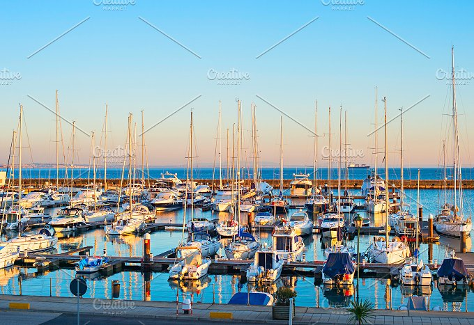 Yachts in Cascais marina. Portugal - Sports