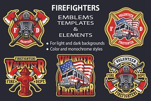 Set of firefighters emblems