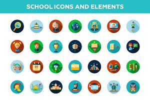 School Icons + 4 Illustrations Bonus