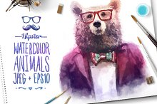 Watercolor Hipster Animals   Bear