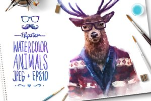 Watercolor Hipster Animals | Deer