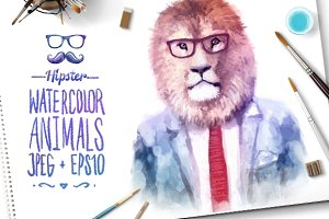 Watercolor Hipster Animals | Lion