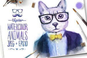 Watercolor Hipster Animals | Cat