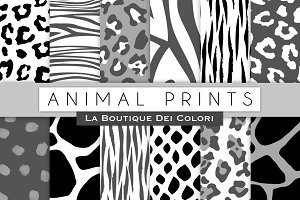 Black & White Animal Prints Papers