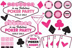 Poker party clipart, commercial use