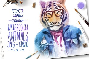 Watercolor Hipster Animals | Tiger
