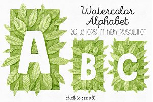 Green Watercolor Leaves ABC