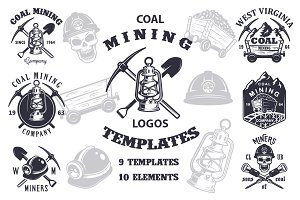 Set of vintage mining emblems