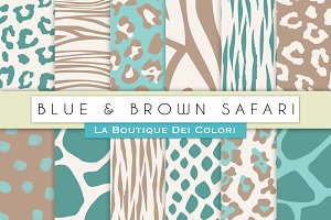 Blue & Brown Animal Prints Papers